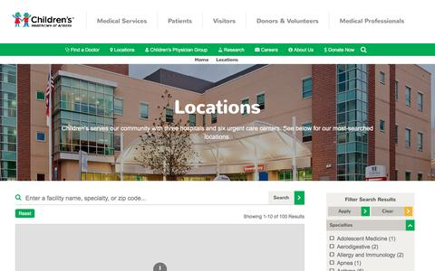 Screenshot of Locations Page choa.org - Locations | Children's Healthcare of Atlanta - captured Oct. 7, 2016