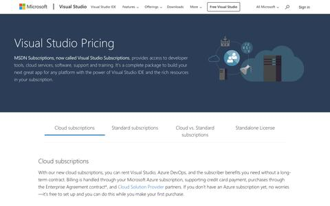 Screenshot of Pricing Page microsoft.com - Pricing and Purchasing Options | Visual Studio - captured Sept. 23, 2018