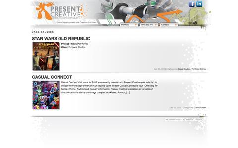 Screenshot of Case Studies Page presentcreative.com - Present Creative - captured Oct. 2, 2014