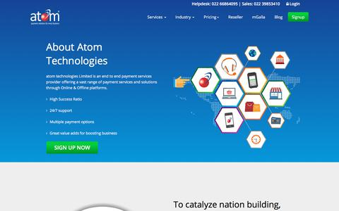 Screenshot of About Page atomtech.in - About Online Payment Gateway | Payment Gateway India - Atomtech - captured Sept. 23, 2018