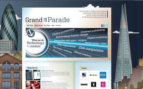 Screenshot of Services Page grandparade.co.uk - What We Do :: Grand Parade   High Tech Digital Marketeers - captured Sept. 30, 2014