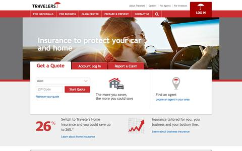 Screenshot of Home Page travelers.com - Travelers Insurance | Auto Insurance | Car Insurance Quotes | Business | Homeowners - captured Sept. 17, 2015