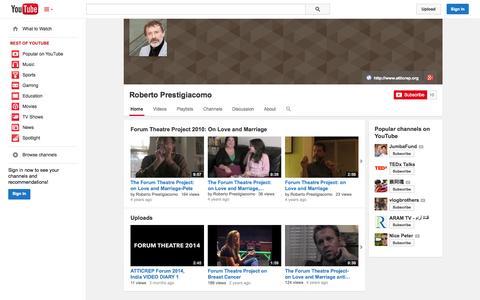 Screenshot of YouTube Page youtube.com - Roberto Prestigiacomo  - YouTube - captured Oct. 23, 2014