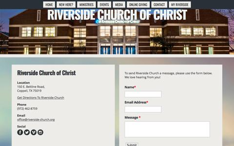 Screenshot of Contact Page riverside-church.org - Contact | Riverside Church Of Christ - captured April 14, 2017