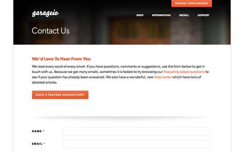Screenshot of Contact Page garageio.com - Garageio - captured Feb. 5, 2016