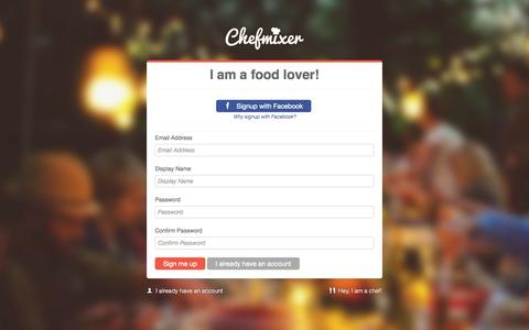 Screenshot of Signup Page Login Page chefmixer.com - Signup - captured Oct. 22, 2014