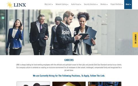Screenshot of Jobs Page teamlinx.com - Join Us - Linx - captured Feb. 11, 2019