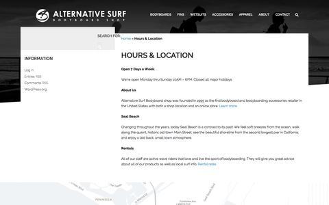Screenshot of Hours Page alternativesurf.com - Hours & Location - Alternative Surf - captured Feb. 5, 2016