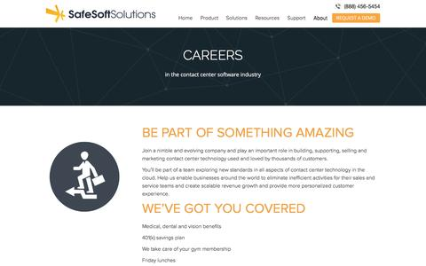 Screenshot of Jobs Page safesoftsolutions.com - Careers | SafeSoft Solutions Cloud-based Contact Center - captured Feb. 9, 2017