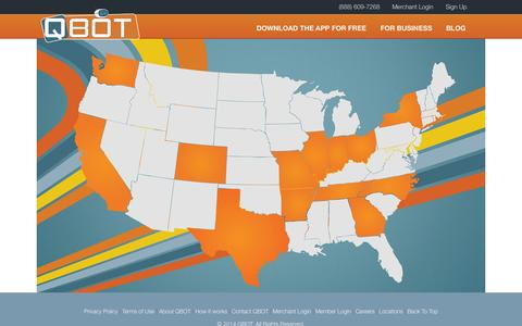 Screenshot of Locations Page qbot.com - Locations - QBOT - captured Oct. 28, 2014