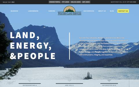 Screenshot of Home Page westernls.com - Western Land Services - captured Jan. 26, 2015