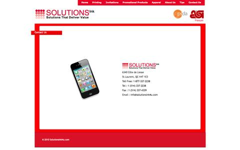 Screenshot of Contact Page solutionsink4u.com - Solutions Ink | Printing | Invitations | Promotional Products | Gift Cards | Apparel | Montreal - captured Oct. 6, 2014