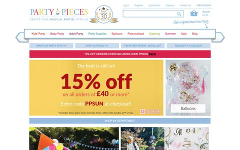 Screenshot of Home Page partypieces.co.uk - Party Supplies - Decorations - Balloons | Party Pieces | Kids Birthday Party Supplies | Boys & Girls - captured July 16, 2018