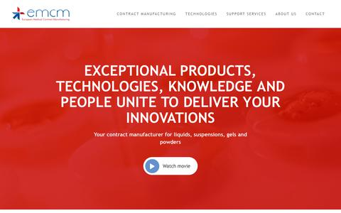 Screenshot of Home Page emcm.com - Contract Manufacturing, the centre of excellence in developing and manufacturing (sterile) medicinal products catering to the Biomaterials, Pharmaceuticals and Tissue Engineering markets - captured Sept. 25, 2018