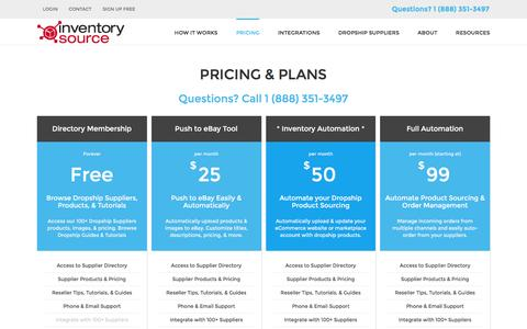 Screenshot of Pricing Page inventorysource.com - Pricing - Inventory Source - captured Nov. 25, 2015