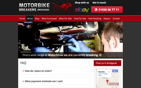 Screenshot of FAQ Page motorbikebreakersbridgend.co.uk - FAQ - Motorbike Breakers Bridgend - captured Oct. 7, 2014