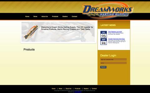 Screenshot of Home Page dreamworkskarting.com - Dream Works Karting Supply - captured Oct. 5, 2014
