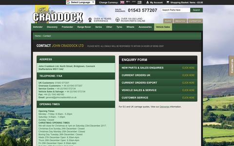 Screenshot of Contact Page johncraddockltd.co.uk - Contact John Craddock for Land Rover Parts and Accessories - captured Nov. 6, 2018