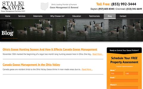 Screenshot of Blog stalkandawe.com - Ohio Goose Control Blog - Canada Geese Management | Stalk and Awe Geese Management - captured Dec. 2, 2016