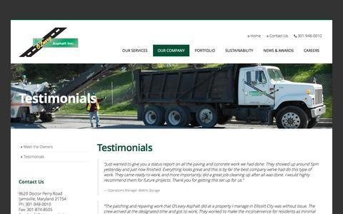 Screenshot of Testimonials Page olearyasphalt.com - Paving and Asphalt Company Reviews - captured April 25, 2017