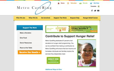 Screenshot of Support Page metrocarering.org - Donate, Contribute, and Give to Support Hunger Relief in Denver - captured Oct. 27, 2014
