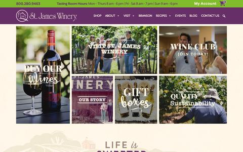 Screenshot of Home Page stjameswinery.com - Award Winning Winery in Missouri | St James Winery - captured Oct. 20, 2018