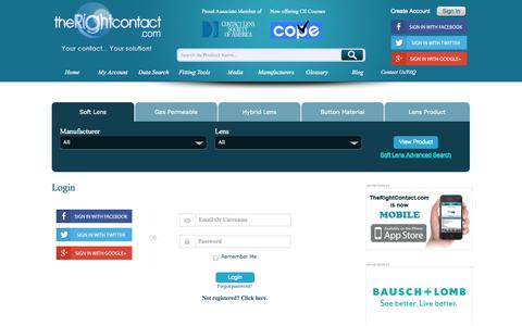 Screenshot of Login Page therightcontact.com - The Right Contact - Login - captured Oct. 6, 2014