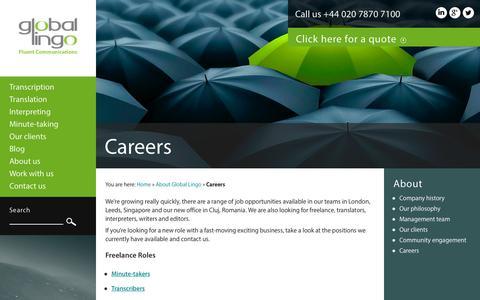 Screenshot of Jobs Page global-lingo.com - Work with us   Global Lingo - captured Sept. 23, 2014