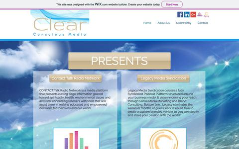 Screenshot of Home Page clearconsciousmedia.com - CLEAR Condcious Media | Home - captured July 18, 2018