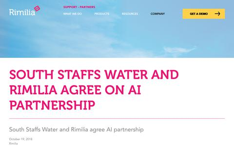 Screenshot of Press Page rimilia.com - South Staffs Water and Rimilia agree on AI partnership | Rimilia - captured Jan. 30, 2020
