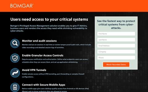 Screenshot of Landing Page bomgar.com - Privileged Access - Watch Demo   BOMGAR - captured May 23, 2017