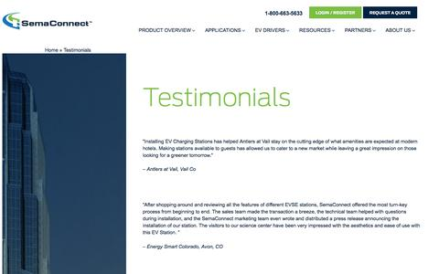 Screenshot of Testimonials Page semaconnect.com - Testimonials - captured July 4, 2016