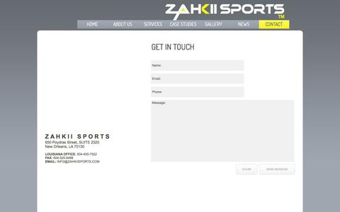 Screenshot of Contact Page zahkiisports.com - ZAHKII SPORTS - A MANAGEMENT, MARKETING AND ENTERTAINMENT FIRM Contact - captured Jan. 10, 2016