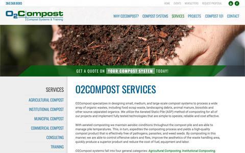 Screenshot of Services Page o2compost.com - O2Compost Services - captured Nov. 7, 2018