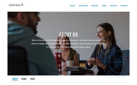 Screenshot of About Page godfrey.com - About Us | B2B Marketing Agency | Godfrey - captured July 4, 2018