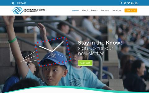Screenshot of Home Page smbgc.org - Boys & Girls Clubs of Santa Monica | Lighting the way to great futures! - captured Oct. 5, 2014