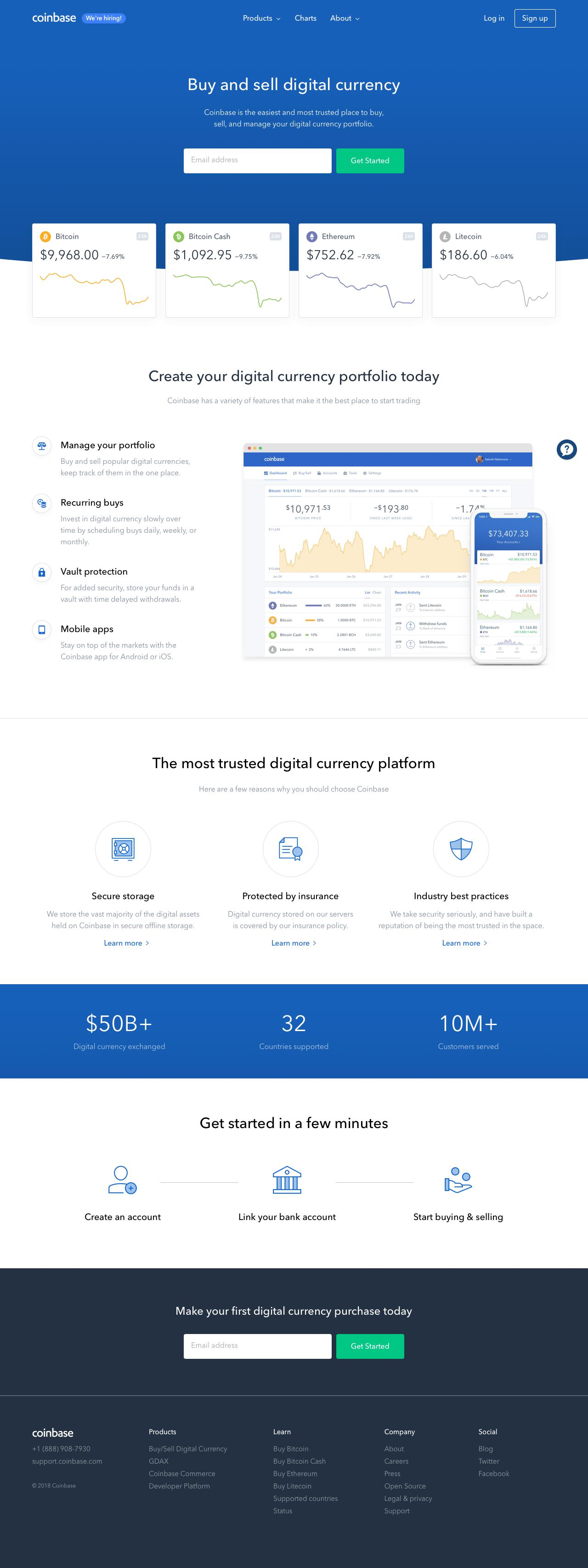 Screenshot of coinbase.com - Buy/Sell Digital Currency - Coinbase - captured March 7, 2018