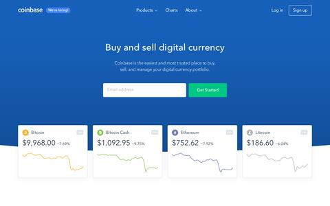 Screenshot of Home Page coinbase.com - Buy/Sell Digital Currency - Coinbase - captured March 7, 2018