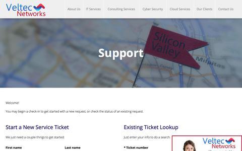 Screenshot of Support Page veltecnetworks.com - Support - captured Oct. 18, 2018