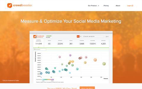 Screenshot of Home Page crowdbooster.com - Crowdbooster: Social Media Analytics - captured Nov. 10, 2015