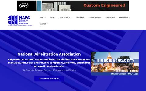 Screenshot of Home Page nafahq.org - Home - National Air Filtration Association - captured Oct. 19, 2017