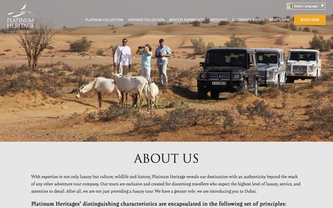 Screenshot of About Page platinum-heritage.com - Desert Safari in Dubai - Luxury Desert Safari | Platinum Heritage - captured Dec. 10, 2015