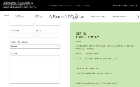 Screenshot of Contact Page afarmersdaughter.co.uk - A Farmer's Daughter Rural greetings cards, gifts and country wedding stationery. - captured July 16, 2018