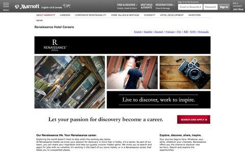 Screenshot of Jobs Page marriott.com - Renaissance Hotel Jobs | Apply for Renaissance Hotel Careers - captured Oct. 26, 2014