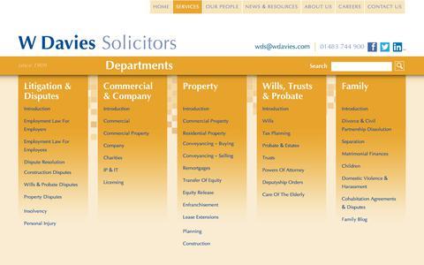 Screenshot of Services Page wdavies.com - Services W Davies Solicitors - W Davies Solicitors in Woking Surrey - captured Oct. 25, 2017