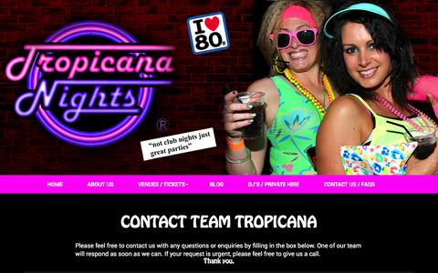 Screenshot of Contact Page tropicananights.co.uk - Tropicana Nights - captured March 8, 2016