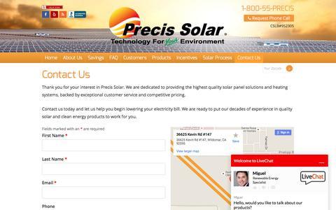 Screenshot of Contact Page precissolar.com - Contact Us | Get A Free Solar Panel Quote | Precis Solar - captured July 14, 2016