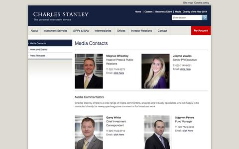 Screenshot of Press Page charles-stanley.co.uk - Media Contacts | Charles Stanley - captured Sept. 19, 2014