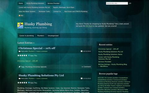 Screenshot of Blog wordpress.com - Services Provided | Husky Plumbing | Plumbing, draining, gas fitting - captured Sept. 12, 2014