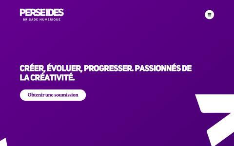 Screenshot of Home Page brigadeperseides.com - Agence de communication numérique - Brigade Perséides - captured July 10, 2018